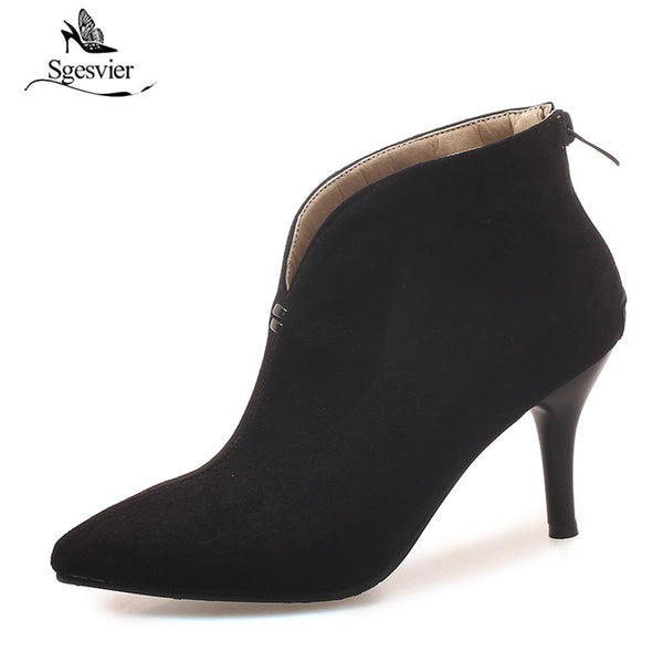 High Heels Ankle Boots Autumn Winter Sexy Pointed Toe Thin Heels Short Boots