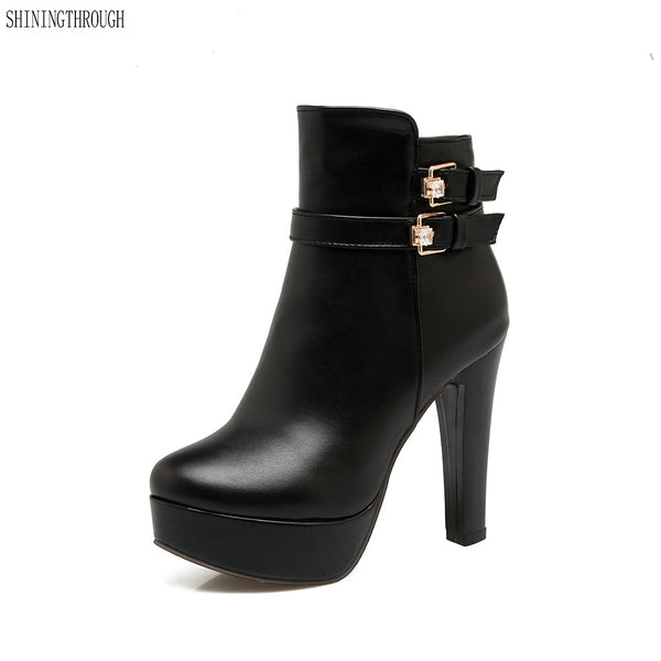 Buckle shoes high heel boots woman rounded toe platform ankle boots