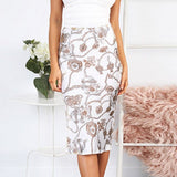 Conmoto High Waist Bodycon Women Skirts Print Bohemian Skirt Satin Feminino Summer Elegant Midi Skirt
