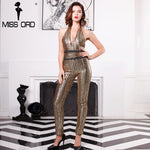 Missord 2019 Sexy Deep-V sleeveless strapless halter backless sequin jumpsuit FT4998