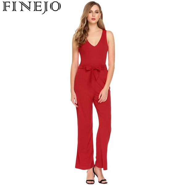 FINEJO Women Sexy Plunge V-Neck Sleeveless High Waist Jumpsuits Rompers 2018 Summer New Ladies Casual Work Jumpsuit Clothing