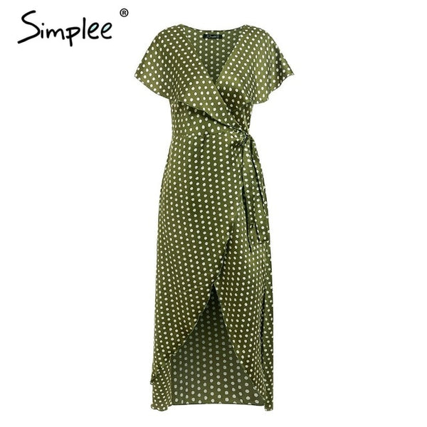 Simplee Vintage dots print satin women summer dress 2019 Elegant v neck wrap sashes dresses Sexy female party long dress