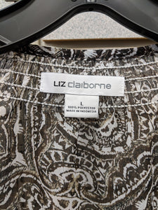 C1-3 Liz Claiborne Brown Paisley Abstract Short Sleeve Shirt NWT