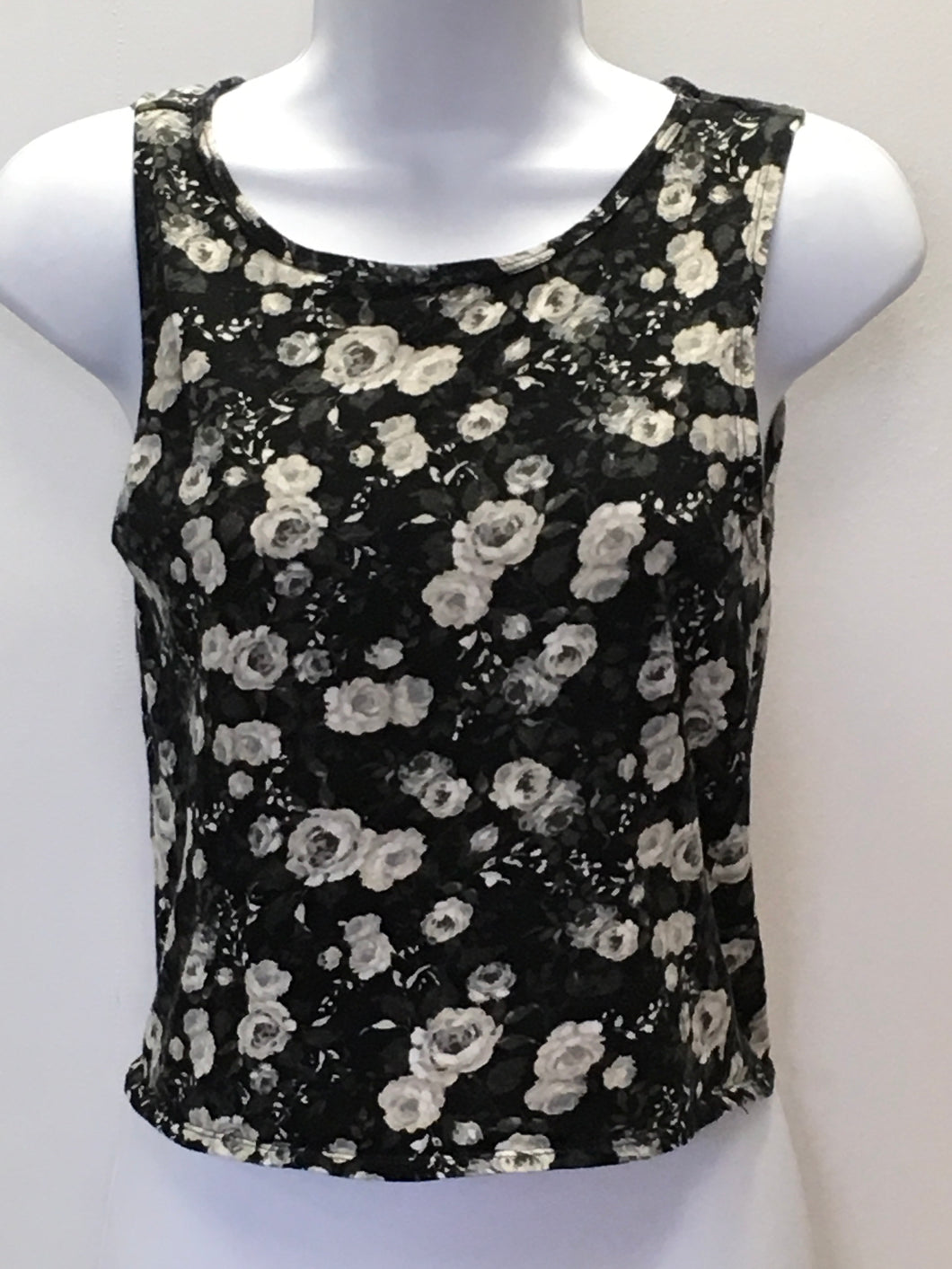 C14-5 Map to Mars Black Floral Tank Top