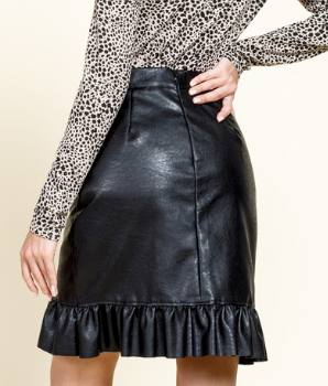 Black Ruffle Leather Look Skirt
