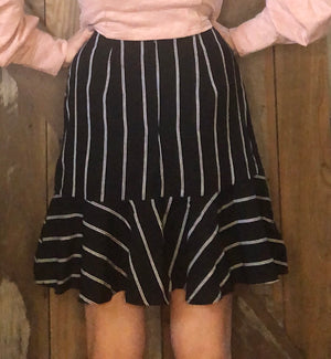 Black Asymmetric Striped Skirt