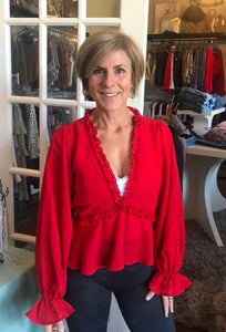 Deep Red V Neck Ruffle Top