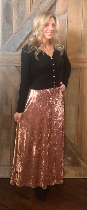 Dusty Pink Crushed Velvet Skirt