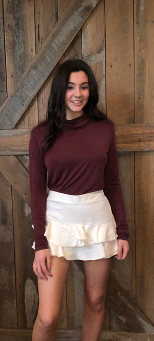 Burgundy High Low Cowl Neck Top