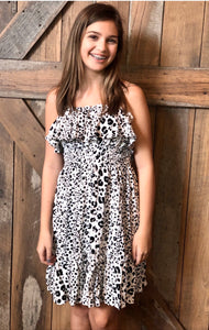 White Leopard Strapless Dress