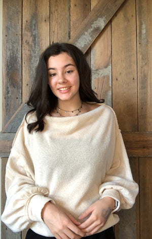 oatmeal loose sleeve sweater