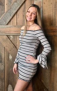Grey Bell Sleeve Striped Dress