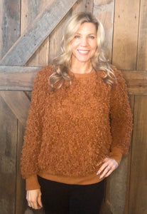 rust popcorn sweater