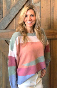 Multi Sage Striped Knitted Top