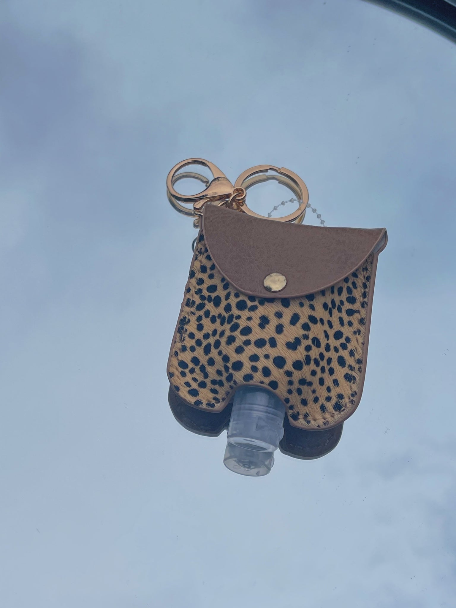 Animal Print Sanitizer Key Chain