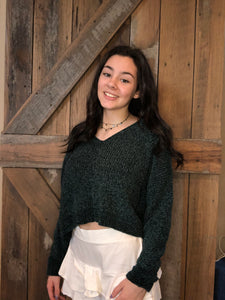 Chenille V-Neck Sweater Green