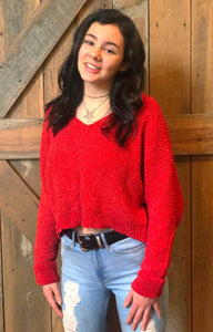Chenille V-Neck Sweater Red