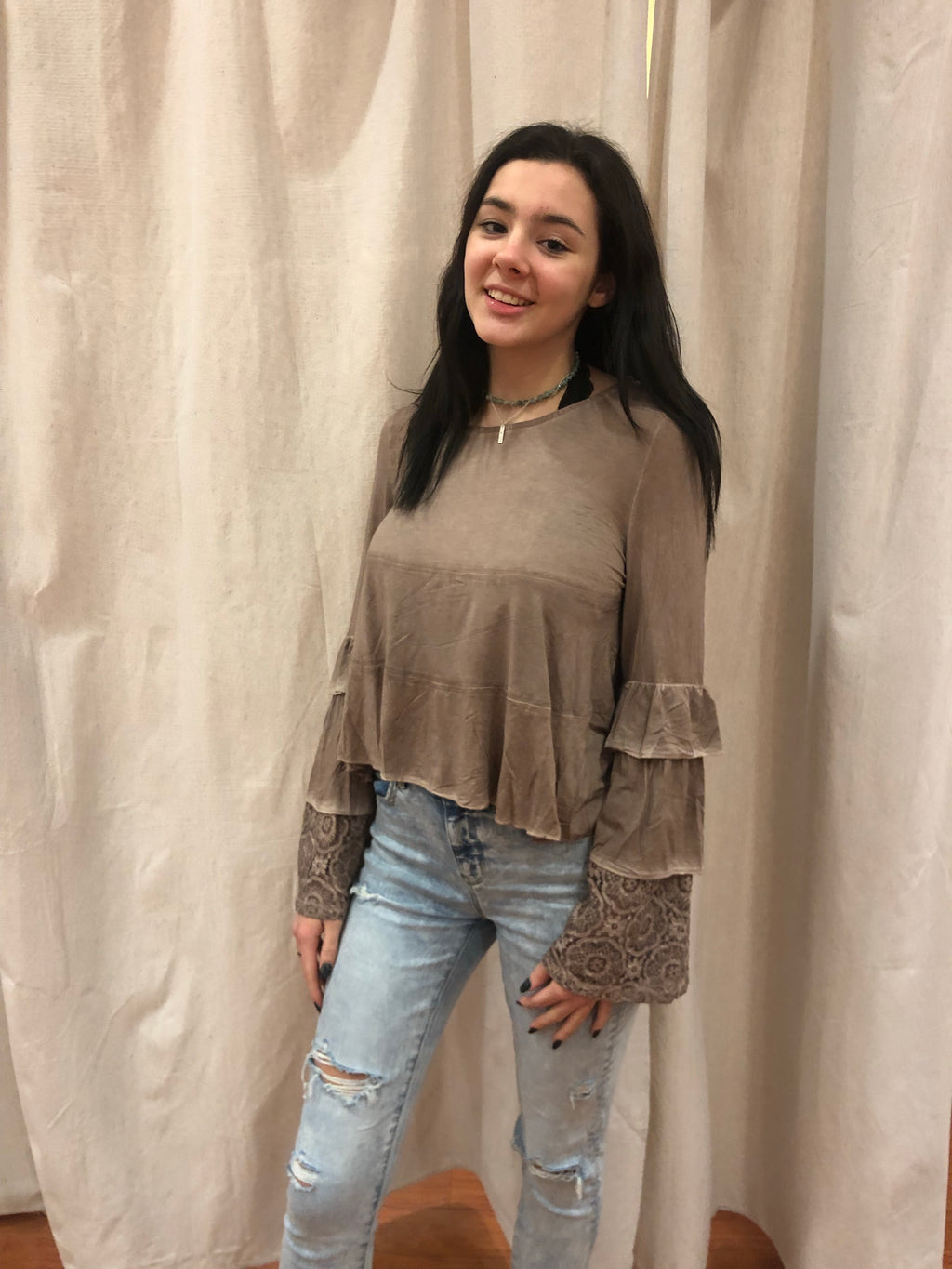 Cocoa Lace Sleeve Top