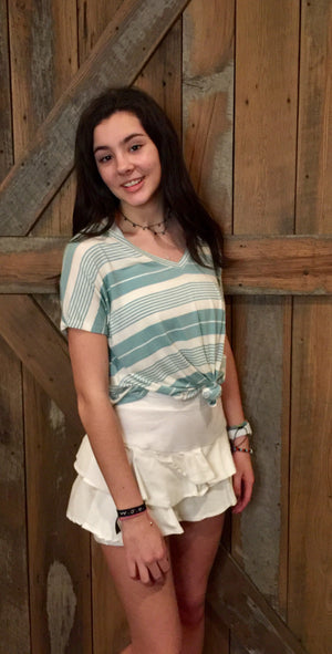 melon and white striped knotted tee