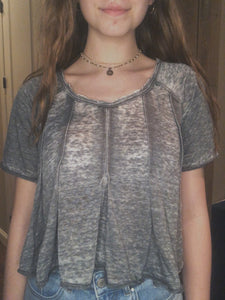 Color Wash Crop Grey
