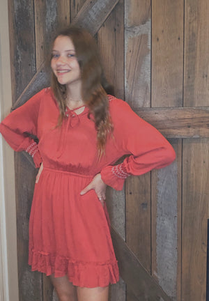 Rust crinkle cut dress