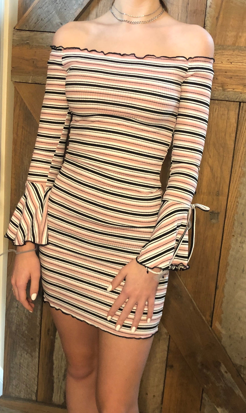 Rose Bell Sleeve Striped Dress