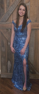 Ice Blue Sequin Formal Dress