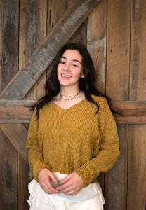 Chenille V-Neck Sweater Mustard