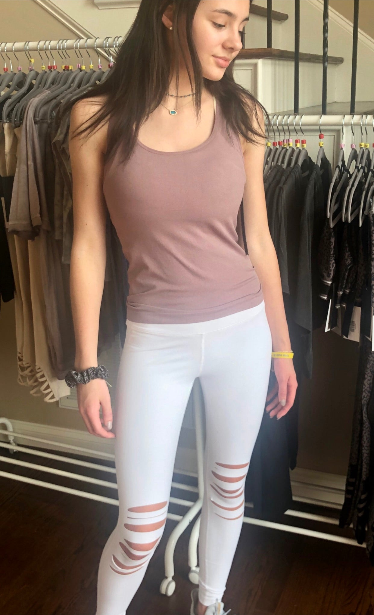 White shredded knee leggings