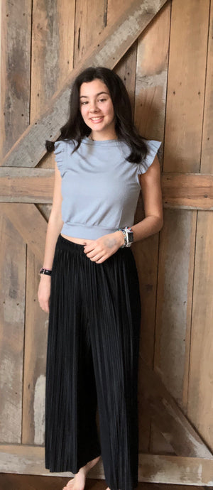 Pleated Black Silky Pant