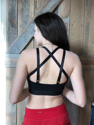 Single Star Black Sports Bra