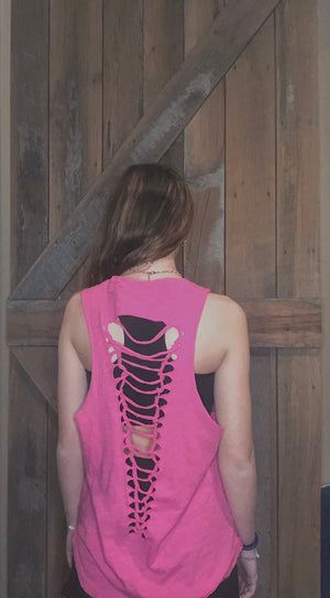 Hot Pink Ladder-Back Tank