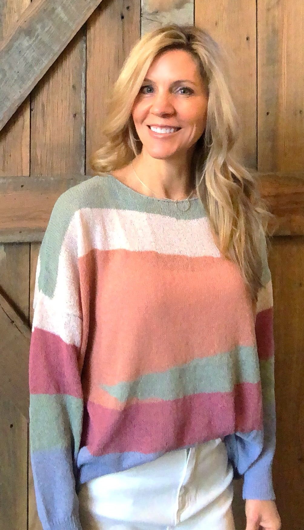 Sage Knitted Colorful Sweater