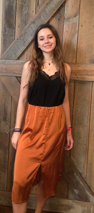 Rust Midi Satin Skirt