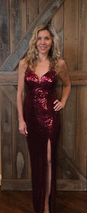 Burgundy Sequin V Neck Formal Dress