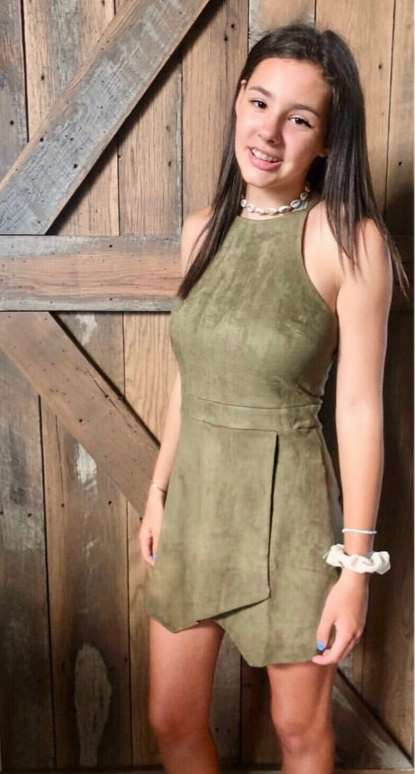 Olive sueded romper