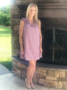 lavender ruffle sleeved dress