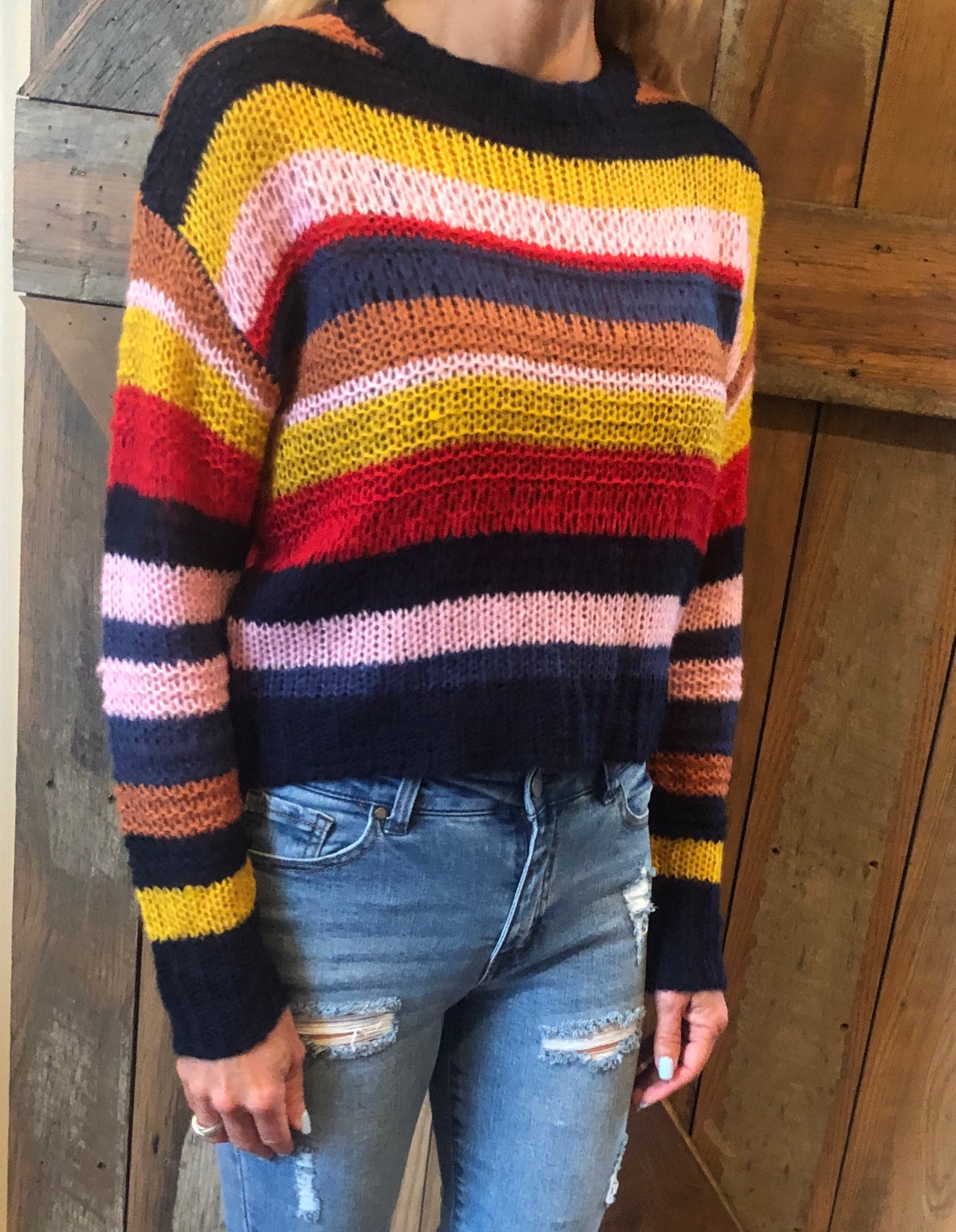 navy colorful sweater