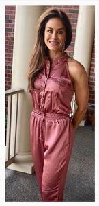 button down burnt rose jumpsuit