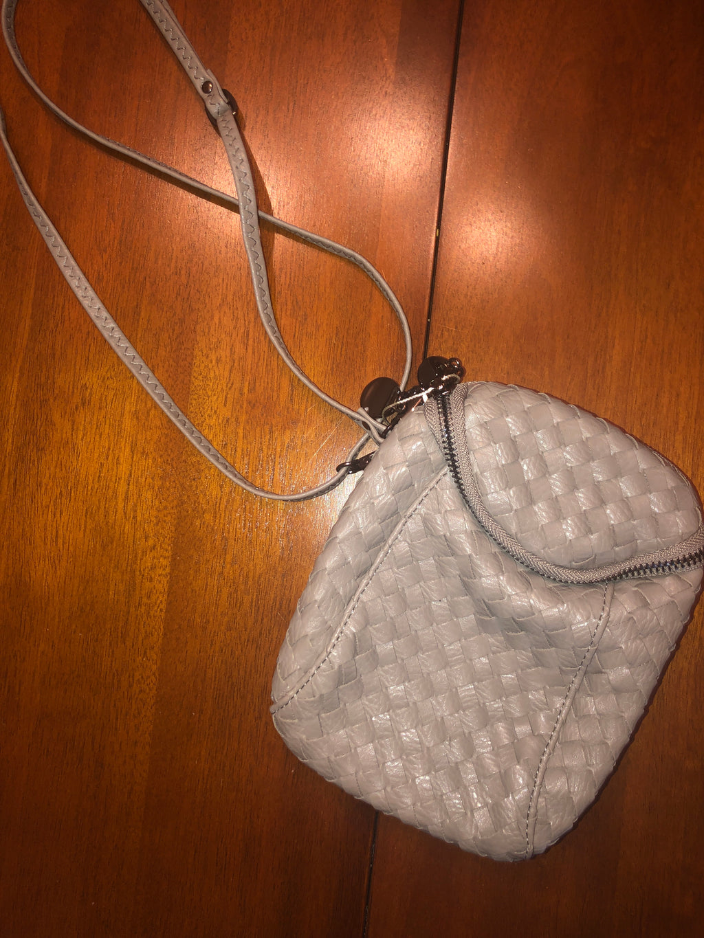 Grey Woven Crossbody Purse