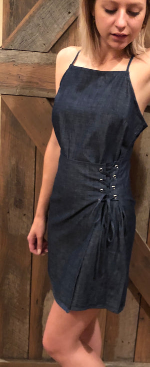 Denim Side Tie Dress