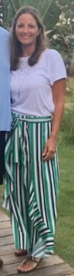 Green striped flow pants