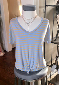 Blue and Mango Striped V-Neck Tee