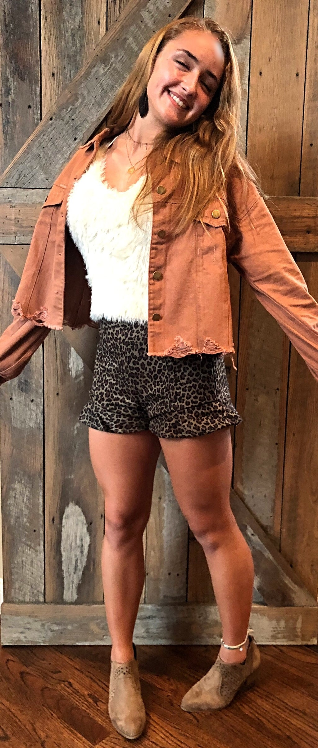 Leopard ruffle sueded shorts