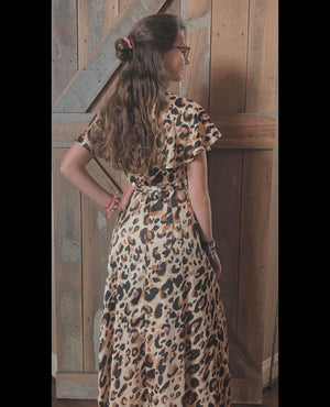 brown cheetah print maxi dress