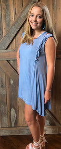 Washed sleeveless dress blue