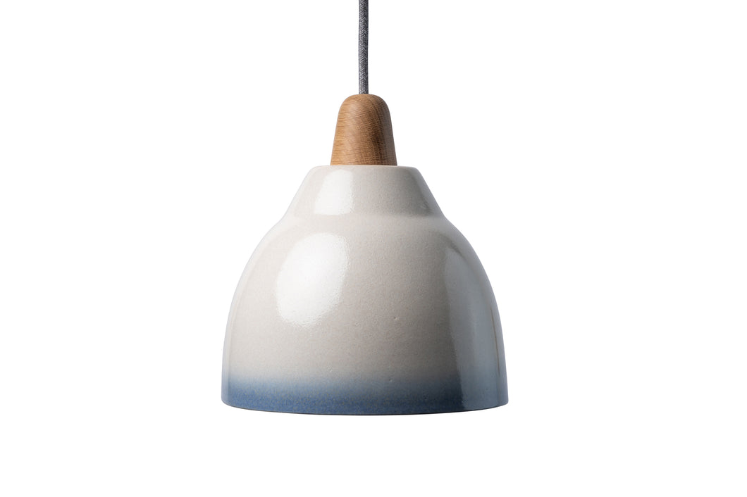 Blue and White Element Ceramic and Oak Pendant Light