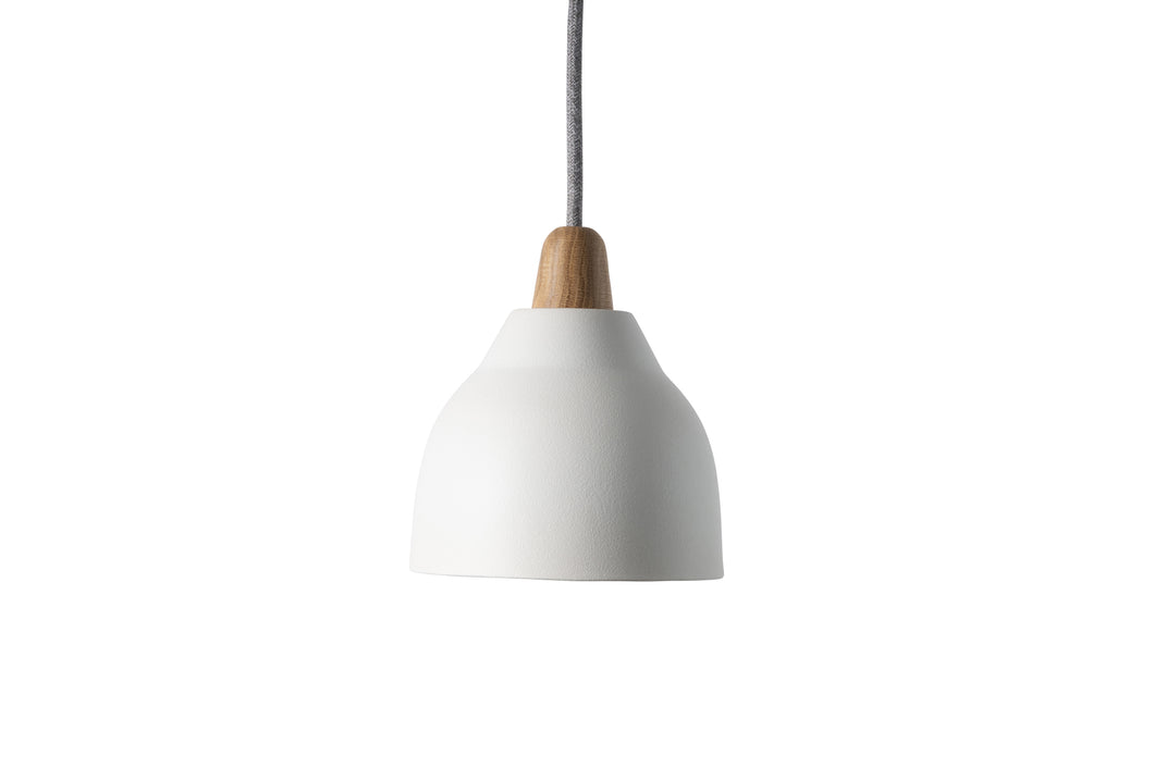 Small Matt White Element Ceramic and Oak Pendant Light