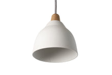 Load image into Gallery viewer, Small Matt White Element Ceramic and Oak Pendant Light