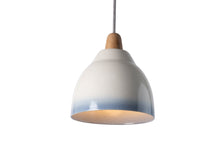 Load image into Gallery viewer, Small Blue and White Element Ceramic and Oak Pendant Light